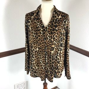Express Portofino cheetah print blouse size L